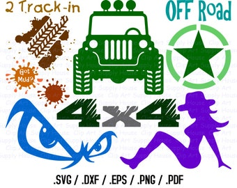 Off Road Truck SVG, Mud Trucking Clip Art, Two Tracking Design Files, Silhouette Software, dxf files, EPS File, Cricut Design Space - CA356