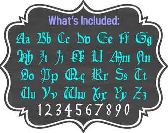 Old World Font Design Files For Use With Your Silhouette Studio Software, DXF Files, SVG Font, EPS Files, Svg Fonts, Horace Font Silhouette