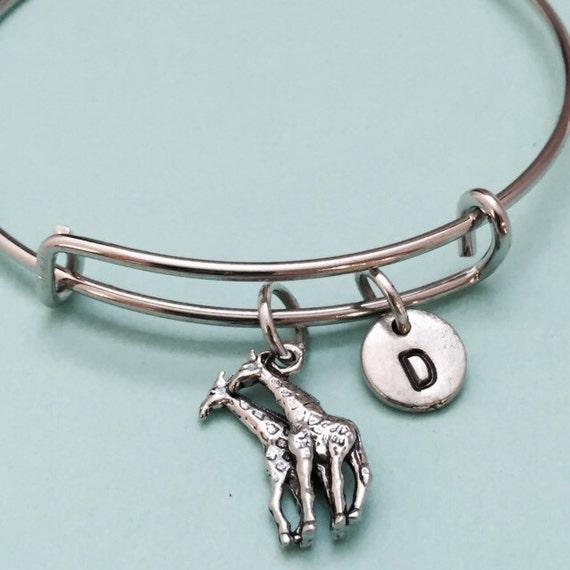 Giraffe Charm Bracelet: Giraffe Bangle Giraffe Charm Bracelet Expandable By