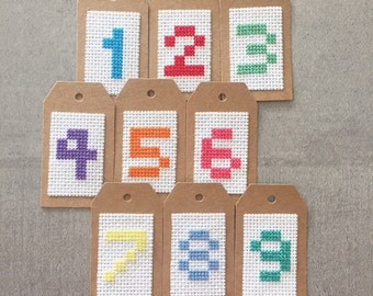 Cross Stitch Number Gift Tag - Personalised Children's Birthday Present Gift Tag - Any Number - 1 2 3 4 5 6 7 8 9