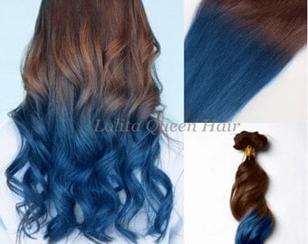 Ombre Blue Bundles ,Brown to Night Blue Ombre Hair Extensions,3 Bundles Human Hair ,Blue Ombre Dip Dyed Hair,Tie Dye Tips,Hippie hair