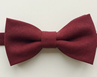Dark Burgundy Linen Bow Tie
