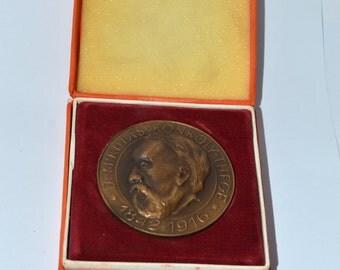 Medal  Plaque Dr Mikulas Konkoly-Thege. Vintage Plaque 100 Pokov Observatorii v Hurbanove 1871-1971