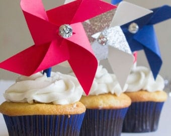 4th of July cupcake topper, fourth of July, american flag, independence day, red white and blue, patriotic, stars and stripes, july 4th
