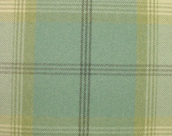 Balmoral Duck Egg Wool Effect Washable Thick Tartan Plaid Upholstery & Curtain Designer Fabric
