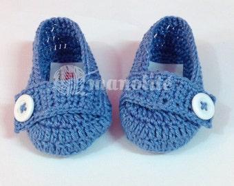 Handmade Crochet Baby Boy Mocassin Shoe  - 100% Cotton