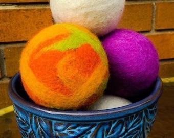 Wool Felt Balls - Wool Dryer Balls - Dryer Balls - Fabric Softener - Laundry - Felt Sensory Toddler Toy - Cloth Diaper Laundry Balls