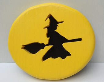Witch's Moon, a Witch Flying Past the Moon Halloween Decoration