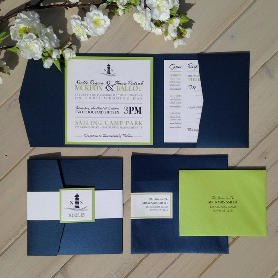 Nautical Wedding Invitations Navy And Lime By