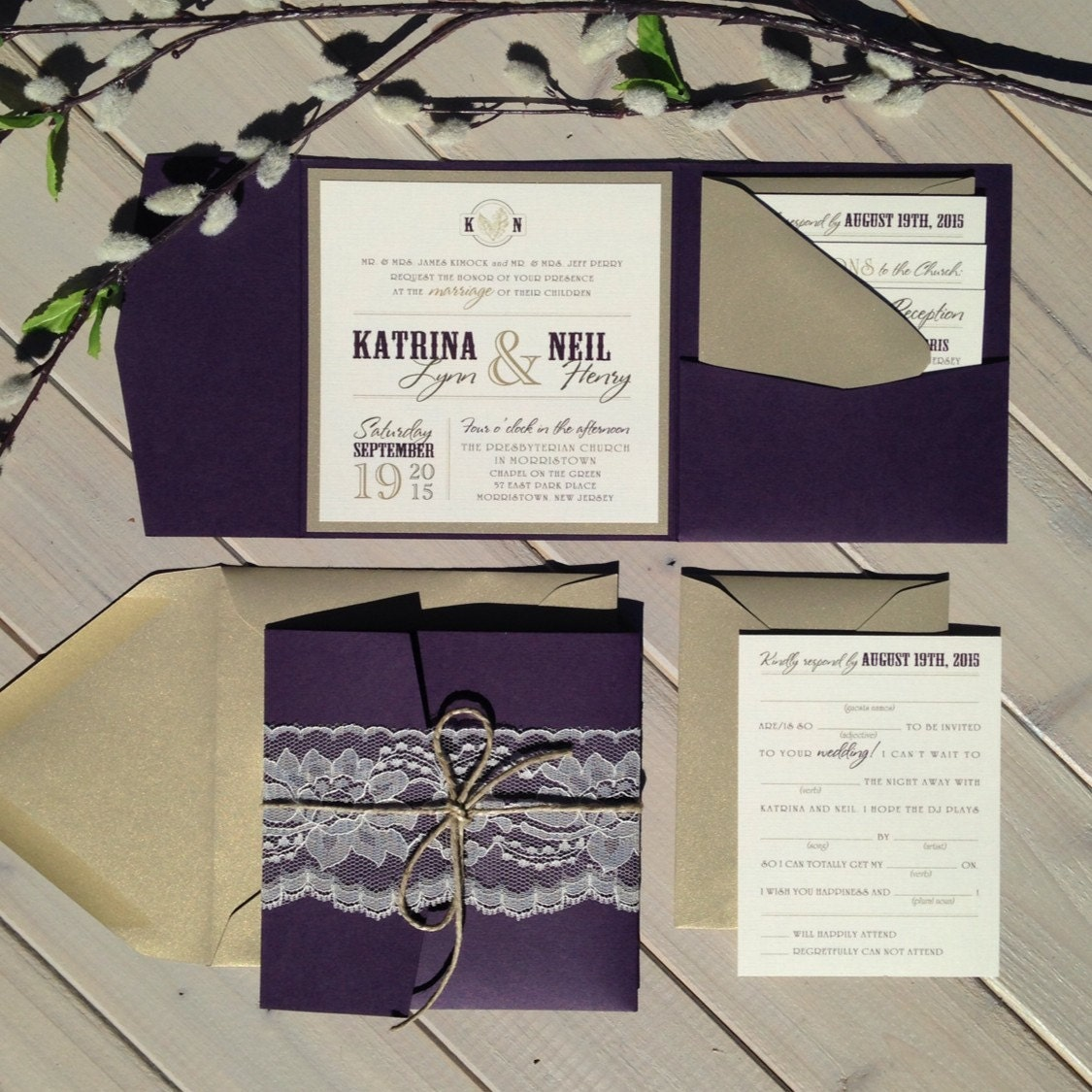 Gold And Purple Wedding Invitations: Purple And Gold Wedding Invitations Plum And Light Gold