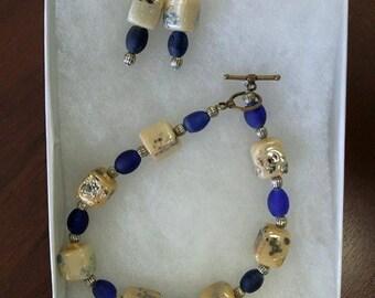 Beaded earrings and bracelet set