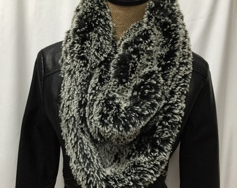 Black Frosted Shag Infinity Scarf - Faux Fur Scarf