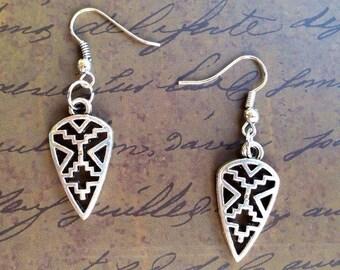 Art Deco Shield Earrings - Art Deco Jewelry - Art Deco Earrings