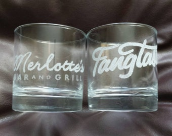 Set of 2 Hand etched mixer glass inspired by True Blood
