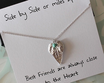 Silver Leaf pendant necklace, Best Friend Necklace & card, Turquoise bead necklace, Best friend gift, Gifts for Her