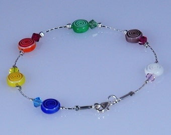 925 Sterling Silver Millefiori Multicoloured Fashion Dainty Bracelet Made in England