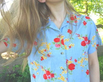 Women's Vintage 1990s small/medium Blue Flowered Shirt