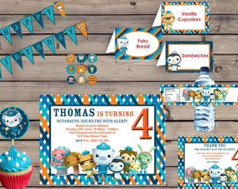 Customised Party Package Octonauts Birthday Invitation and labels Printable DIY