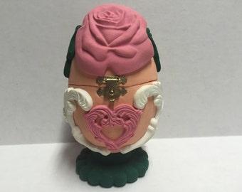 Egg shaped Bridal Wedding Rose Easter jewelry keepsake trinket gift box - polymer clay