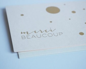 Greeting Card - Foil Press Card - Merci Beaucoup, 3 color Options