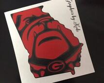UGA Bulldog Decal Sticker - Red and Black - Georgia - University of Georgia Sticker - Georgia Bulldog - Georgia Decal