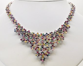 Sterling Silver, Sapphires, Emeralds, Rubies  20 inch Necklace 68.8gms 55 cttw
