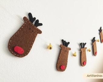 Reindeer garland, Christmas decor, Rudolph garland, Holiday decor, Jingle bells, Christmas garland, Party decor, Christmas bunting, Rudolph