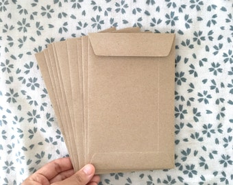 Set of 50 Brown Kraft 4.5x7 inches Recycled Eco Friendly Envelopes for Photo or Postcard