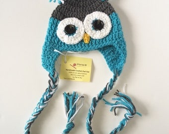 6-12 month size Baby Blue Owl Hat