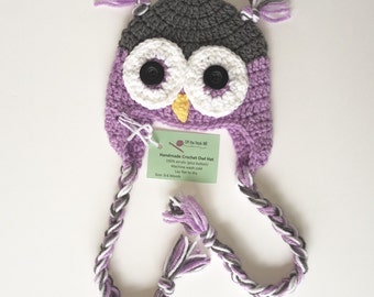 Size 0-6 month Lavender Purple Owl Hat