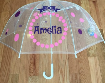 Monogrammed umbrella, adult & child size, personalized Umbrella, great gift any name Monogram Umbrella Baby shower decoration clear dome