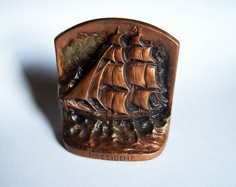 """Cast Iron Bookend - Ship/Sailboat/Tallboat """"President"""" by the Judd Company - Early 20th Century"""