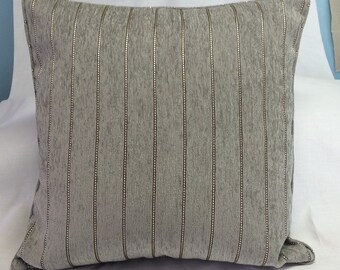 SALE Soft Metallic Pillow Cover - Silver Gray Striped Chenille - 18 Inch - Decorative Throw Pillow - Ready to Ship