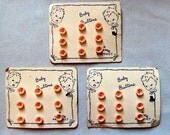 Baby Buttons on Three Original Cards – 27 Small Pink Plastic Buttons, Very Cute