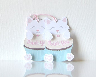 Kittens & Cupcakes Gift Tags Set of 10: kitty, cat, dessert, birthday - LRD024TG