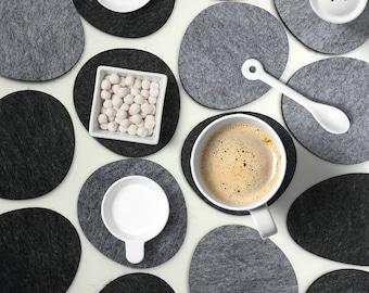 Felt coaster set-Stones,Handmade Drink Coaster Set,Modern Minimalist Coaster Set 4mm,Absorbent Coasters Eco Friendly,Drinkware,Home Decor