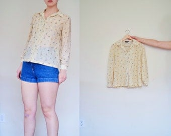 Vintage Soft Yellow FLORAL Button Up Blouse | Long Sleeve Sheer Blouse