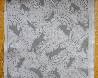 Cat Paisley Print on Cotton Fabric in black and grey