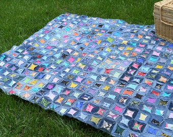 Upcycled Denim, Recycled Blue Jeans, Quilted Picnic Blanket