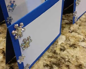 Snowflake Food Tents. Blue Christmas. Snowflake name cards. Snowflake Place Cards. Set of 12 Snowflake Party Decor. Frozen Food Tents