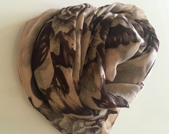 Cream Floral Scarf Cream Scarf Brown Floral Scarf Beige Floral Scarf Fashion Scarf Summer Scarf Gifts For Her Beige Shawl Natural Scarf Wrap