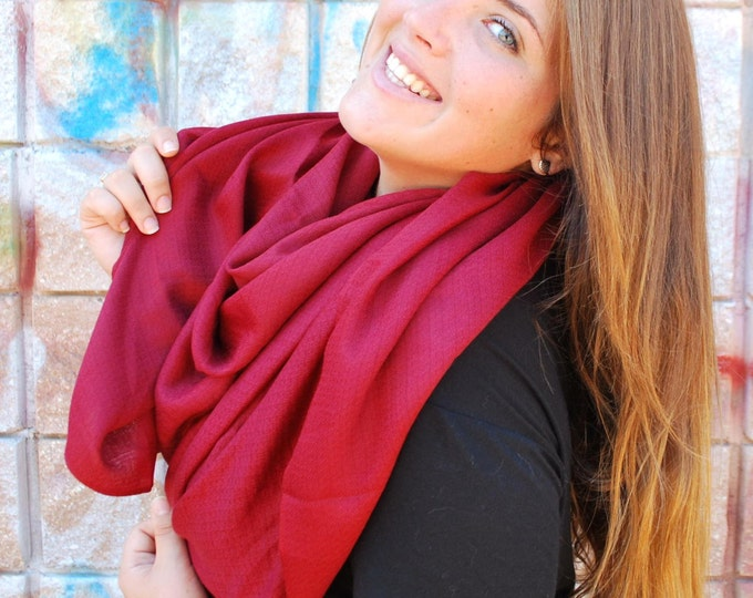 Red Pashmina Scarf Oversized Scarf Pashmina Scarf Shawl Burgundy Scarf Fall Cowl Scarf Infinity Scarf Women Fashion Accessories Gift For Her