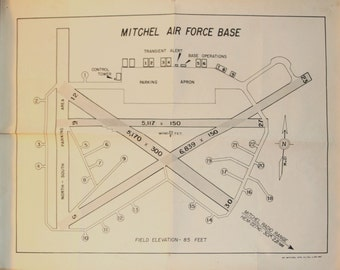 Air Force Base, Pilot, Military, Vintage 1961 Map of Mitchell Air Force Base