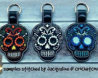 sugar skull key fob AND snap tab design for 4x4 hoop - keychain, key fob, day of the dead key ring - machine embroidery design 05 12 2017