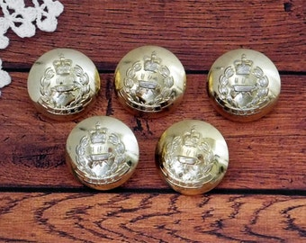 Metal coat buttons - Large embossed army buttons - set of 5 old brass regiment buttons - loop shank