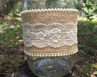 Rustic Burlap Mason Jar Wrap YOUR CHOICE DESIGN