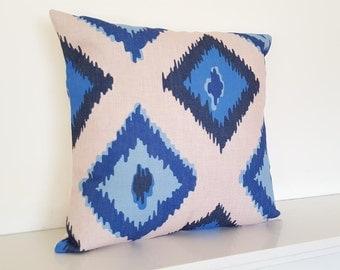 "Geometric/Scandinavian Diamond Print Cotton Linen Cushion Cover 18 x 18"""