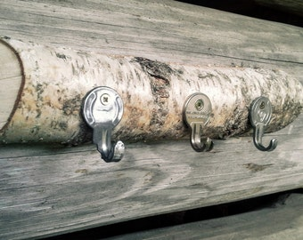 Rustic wall key rack with 3 or 4 hooks.