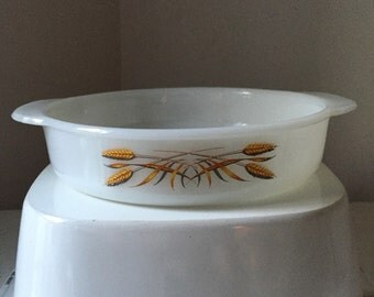 Vintage Fireking #450 8 inch dish in wheat pattern