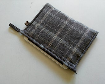 iPad Mini Case. Padded Tablet Cover, Made To Order, Custom Made, linen/plaid.
